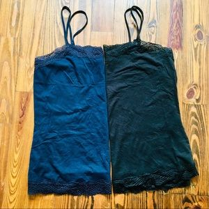 Ann Taylor Factory Black & Navy Lace Tank Duo